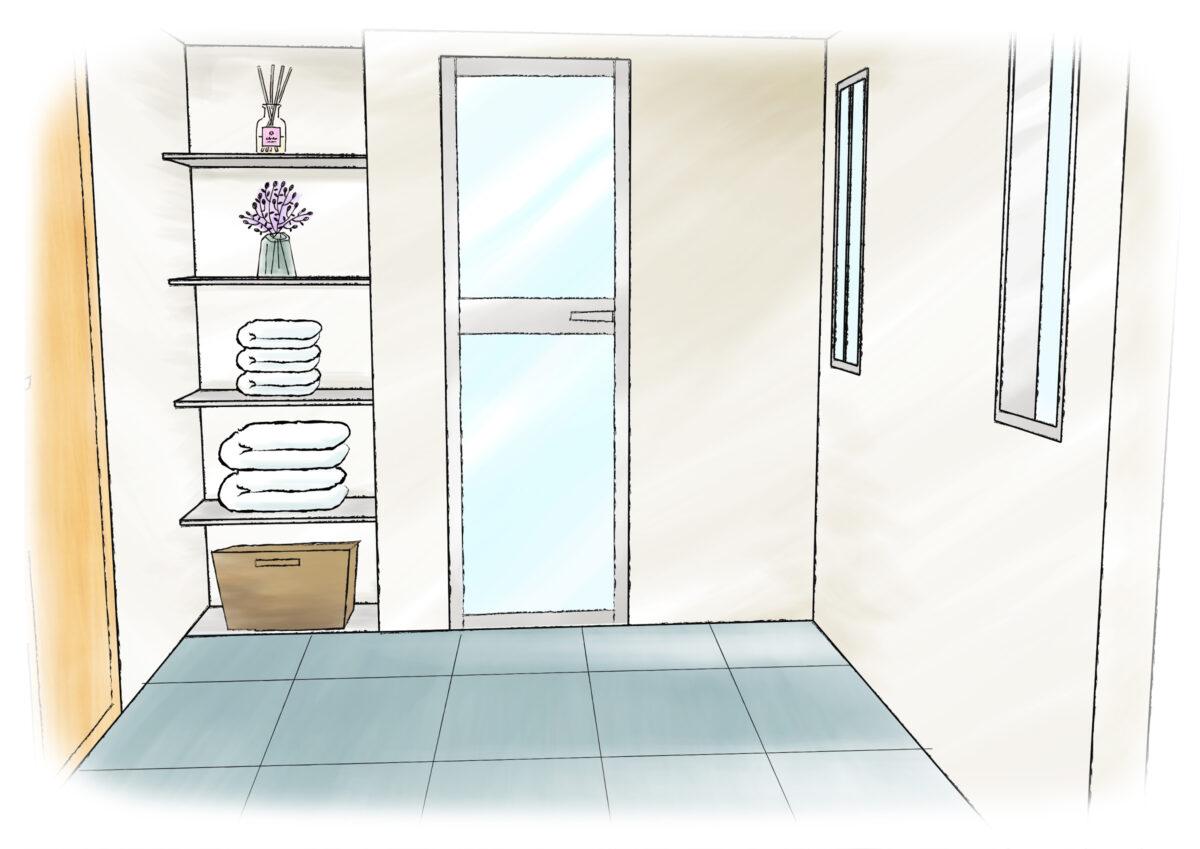 【洗面脱衣室の脱衣場】